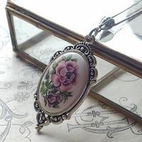 ヴィンテージ Purple-Flower/エレガントSilverクラシカルネックレス