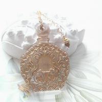 ヴィンテージ Gold-Clear香水瓶 ネックレス
