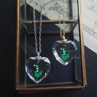 ヴィンテージ  すずらん/Heart-glass ネックレス(ゴールドorシルバー)