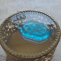 ヴィンテージ Light-Blueすずらんインタリオ ネックレス