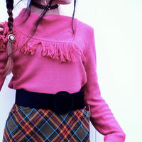 Retro Pink Fringe Knit