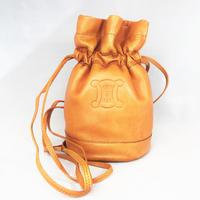 CELINE セリーヌ セミショルダーバッグ 巾着 ブラゾン キャメル vintage ヴィンテージ