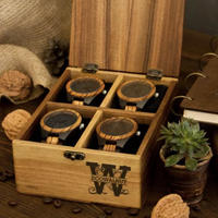 腕時計収納ボックス(4 ピース)  ウォールナット