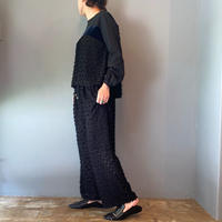 jacquard easy pants(black)