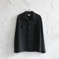 XOSYSTEM|XO x STASH L/S OPEN SHIRT / SEERSUCKER BLACK