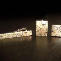 VOGAネクタイピン&カフリンクス/鮫亀甲紋様/本あわび白螺鈿/青箔