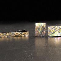 VOGA ネクタイピン&カフリンクス/菊菱紋様/本あわび緑螺鈿/金箔