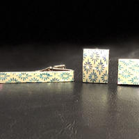 VOGA ネクタイピン&カフリンクス/菊菱紋様/本あわび白螺鈿/水色箔