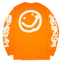 Yudai Nishi 'Smile' Long Sleeve Tee - Neon Orange