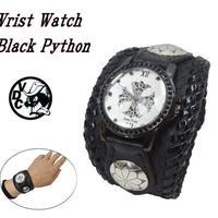 腕時計 メンズ リストウォッチ ブラック パイソン ヘビ革 19020901