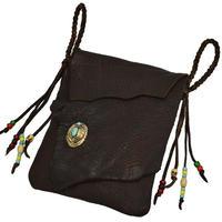 鹿革 メディシンバッグ 真鍮コンチョ付き バイカー ブラウン18071701