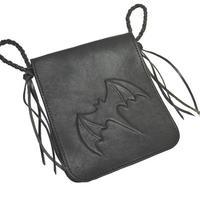 メディシンバッグ コウモリ レリーフ 牛革 黒色 18070102