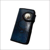 ハンドメイド ダイヤモンドパイソン (ニシキヘビの革)&レザー編みこみ ウォレット(長財布)ブルー  10002964