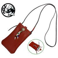 スマホショルダー 携帯ホルダー 牛革 ポシェット コンチョ付き i-phone7plus RED 19040201