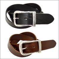 ベルト 本革 メンズ バックル付け替え可能 フェザーカービングベルト レギュラーサイズ 10007502