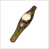牛革スタンピングクラフト腕時計 (リストウォッチ)緑ビッグフェイスBG 10002476