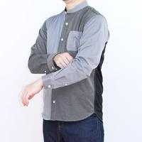 VUMPS RED ストライプ切替 バンドカラーシャツ