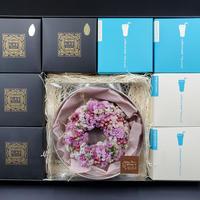 配送専用 母の日 フラワーリースピンク系 Helianthus garden オリジナルリース(ピンク系)とスイートギフト4個 詰合せ (5/1~5/7着)  のコピー