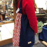 着物リメイク☆縮緬生地×紺色紬のショルダーバッグ
