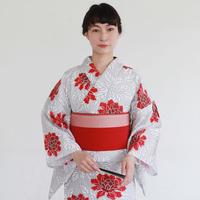 KAGUWA 浴衣・お仕立てあがりー春牡丹(灰×赤)
