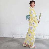 KAGUWA 浴衣・お仕立てあがりー花唐草(黄色)