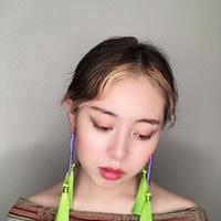 タッセル耳飾り パープル✖️イエローグリーン
