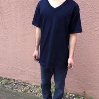 日頃の感謝を込めて大特価!!『一点物』&コロナに負けるな!!藍染めVネックTシャツ XLサイズ 勝ち色ソリッド 男女兼用『一点物』