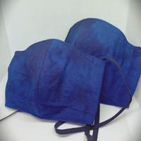 秋冬に最適!藍染めの保温性!藍染め布マスク二度染め柄(立体タイプ)