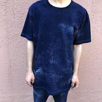 日頃の感謝を込めて大特価!!『一点物 2020新作柄』&コロナに負けるな!!藍染め厚地Tシャツ Lサイズ 藍格子柄 男女兼用『一点物』