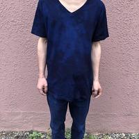 日頃の感謝を込めて大特価!!『一点物』&コロナに負けるな!!藍染めVネックTシャツ Lサイズ  濃淡染め技法 男女兼用『一点物』パターン2