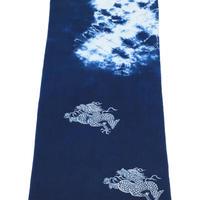 藍染め手ぬぐい 型染め「龍」デザイン