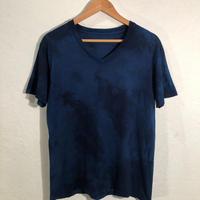 日頃の感謝を込めて大特価!!『一点物』&コロナに負けるな!!藍染めVネックTシャツ XLサイズ 濃淡染め 男女兼用『一点物』