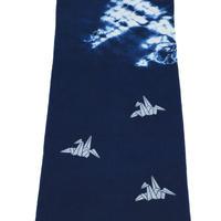 藍染め手ぬぐい 型染め「折鶴」デザイン