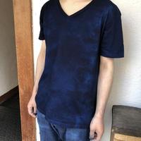 日頃の感謝を込めて大特価!!『一点物』&コロナに負けるな!!藍染めVネックTシャツ Mサイズ 濃淡染め 男女兼用『一点物』