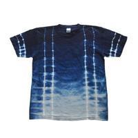 藍染めTシャツ 縦ストライプ絞り模様