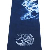 藍染め手ぬぐい 型染め「鯉」デザイン