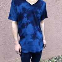 日頃の感謝を込めて大特価!!『一点物』&コロナに負けるな!!藍染めVネックTシャツ Lサイズ  濃淡染め技法 男女兼用『一点物』
