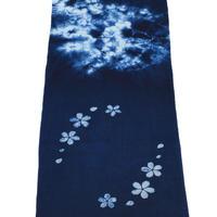 藍染め手ぬぐい 型染め「桜」デザイン