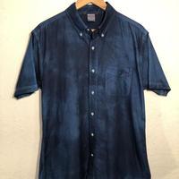 日頃の感謝を込めて大特価!!『一点物』&コロナに負けるな!!藍染めオックスフォード半袖Yシャツ Lサイズ 濃淡染め 男女兼用『一点物』