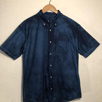 日頃の感謝を込めて大特価!!『一点物』&コロナに負けるな!!藍染めオックスフォード半袖Yシャツ XLサイズ 濃淡染め 男女兼用『一点物』
