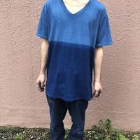 日頃の感謝を込めて大特価!!『一点物』&コロナに負けるな!!藍染めツートンカラーVネックTシャツ XLサイズ 浅葱色&渋藍 男女兼用『一点物』