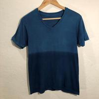 日頃の感謝を込めて大特価!!『一点物』&コロナに負けるな!!藍染めVネックTシャツ Sサイズ  ツートンカラー 男女兼用『一点物』