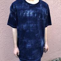 日頃の感謝を込めて大特価!!『一点物 2020新作柄』&コロナに負けるな!!藍染め厚地Tシャツ XLサイズ 藍格子柄 男女兼用『一点物』