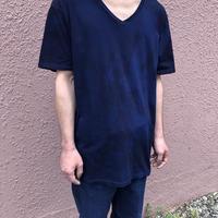 日頃の感謝を込めて大特価!!『一点物』&コロナに負けるな!!藍染めVネックTシャツ XLサイズ 濃淡染め技法 男女兼用『一点物』 パターン2