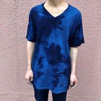 日頃の感謝を込めて大特価!!『一点物』&コロナに負けるな!!藍染めVネックTシャツ XLサイズ 濃淡染め技法 男女兼用『一点物』