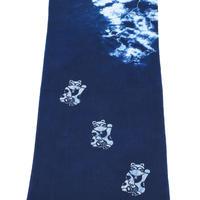 藍染め手ぬぐい 型染め「招き猫」デザイン