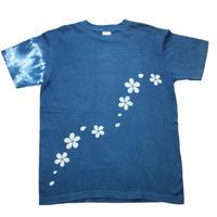 型染め「桜」 藍染めTシャツ