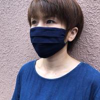 秋冬に最適!藍染めの保温性!藍染めプリーツマスク勝ち色  ノーズワイヤー入り