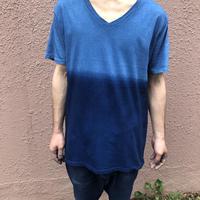 日頃の感謝を込めて大特価!!『一点物』&コロナに負けるな!!藍染めツートンカラーVネックTシャツ Lサイズ 浅葱色&渋藍 男女兼用『一点物』