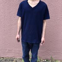 日頃の感謝を込めて大特価!!『一点物』&コロナに負けるな!!藍染めVネックTシャツ Lサイズ 勝ち色ソリッド 男女兼用『一点物』